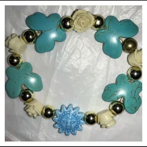 Jewelry - New Faux Turquoise Butterfly Floral Bead Bracelet